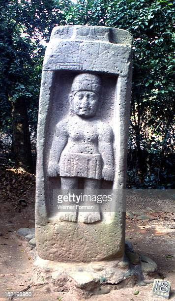 Carved stone stela of Olmec figure possibly a woman now displayed in the archaeological park at Villahermosa Veracruz Mexico Mexico Olmec 800400 BC...