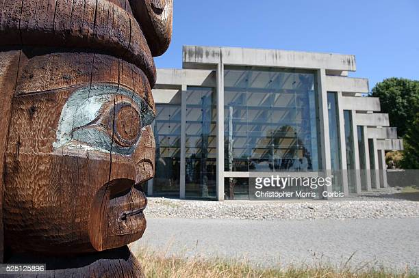 Carved totem outside of the University of British Columbia's museum of Anthropology, designed by architect Arthur Erickson. The museum is home to a...