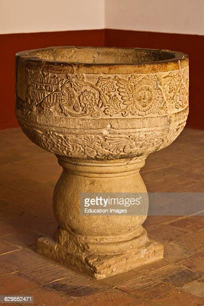 Carved Water Bowl In The 16Th Century Convent And Basilica Of Cuilapan The Former Monastery Of Santiago Apostol Cuilapan De Guerrero Mexico Near...