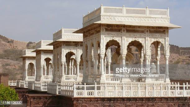 carved white marble gazebos at the jaswant thada cenotaph complex in jodhpur, rajasthan, india - the cenotaph stock pictures, royalty-free photos & images