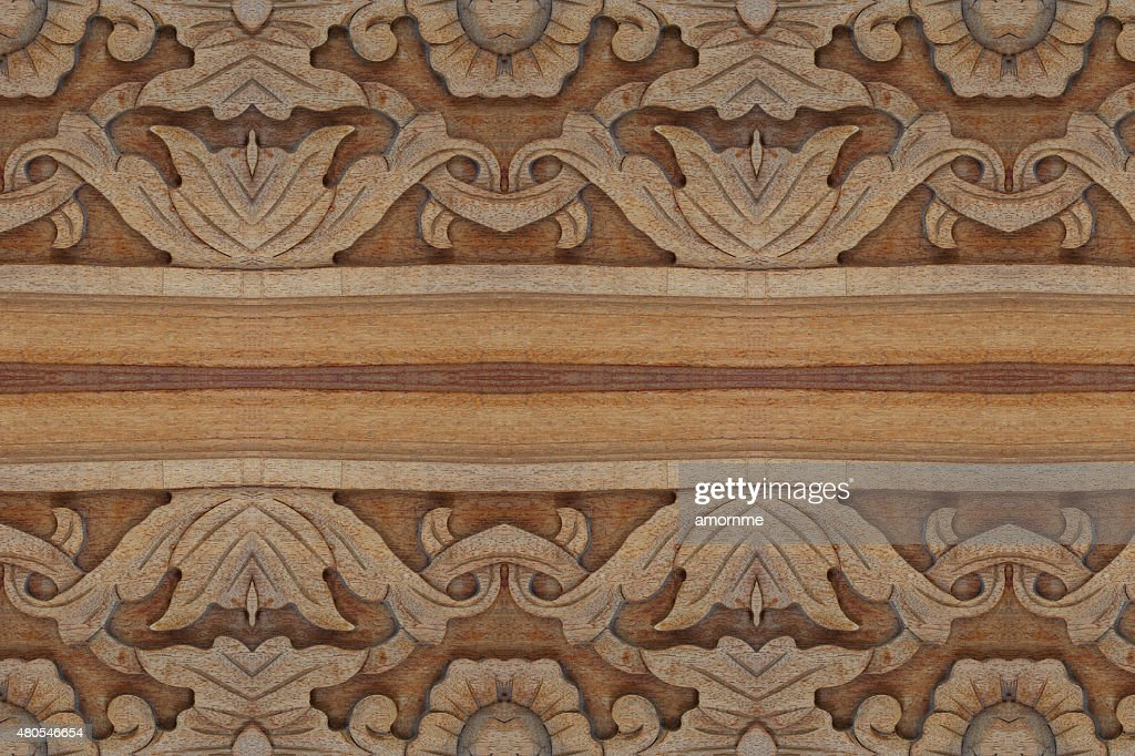 Muito finos esculpidos madeira parede fechar : Foto de stock