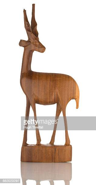 carved wooden antelope from africa - hugh threlfall stock pictures, royalty-free photos & images