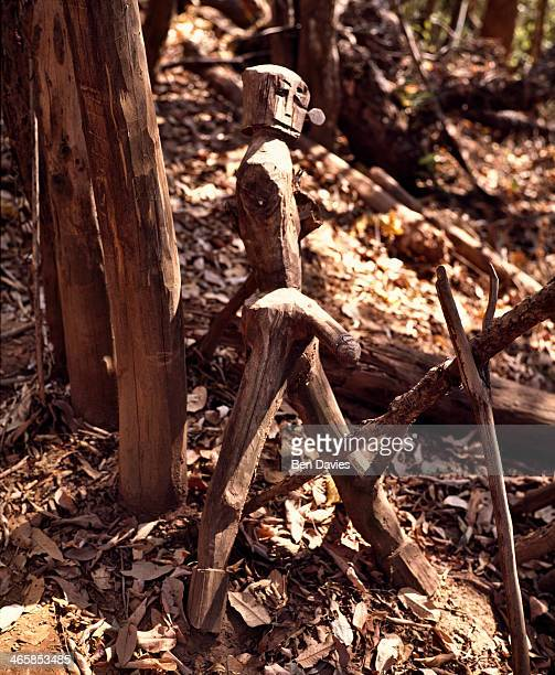 A carved wooden fertility statue at the entrance to an Akha village in Northern Thailand is believed to appease the spirits and boost the fertility...