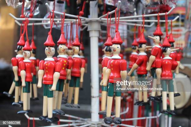 Carved wooden pinocchio ornaments