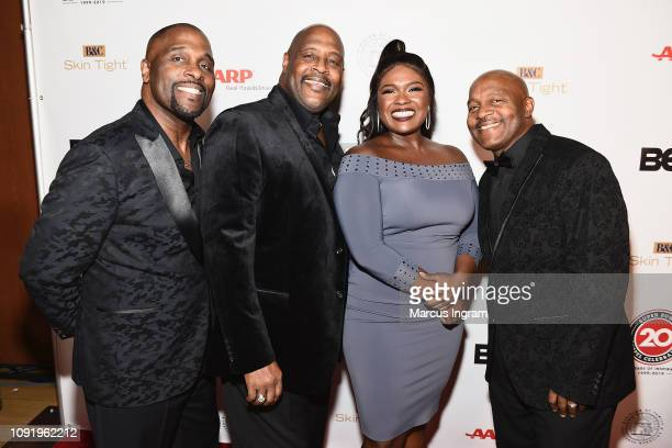 Carvin Winans Marvin Winans Deborah Joy Winans and Marvin Winans pose backstage at the 2019 Super Bowl Gospel Celebration at Atlanta Symphony Hall on...