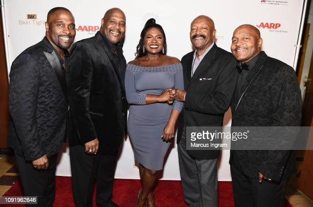Carvin Winans Michael Winans Deborah Joy Winans Greg Coleman and Marvin Winans pose backstage at the 2019 Super Bowl Gospel Celebration at Atlanta...