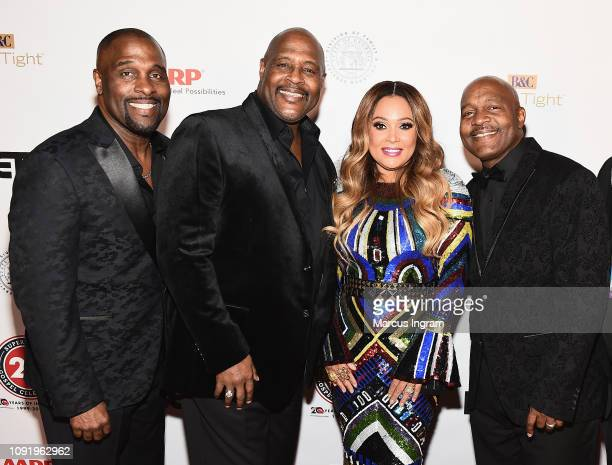 Carvin Winans Michael Winans Tamia and Marvin Winans pose backstage at the 2019 Super Bowl Gospel Celebration at Atlanta Symphony Hall on January 31...