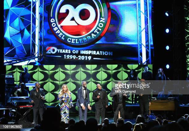 Carvin Winans Tamia Rickey Smiley Michael Winans Marvin Winans and Isaac Carree perform onstage at the 2019 Super Bowl Gospel Celebration at Atlanta...