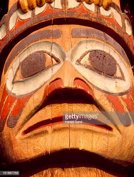 Carving detail from a Native American totem pole