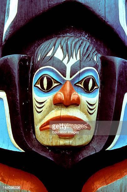 Carving Detail Of Haida Monumental Totem Pole Raised At Haida Heritage Centre Skidegate Haida Gwaii BC Canada