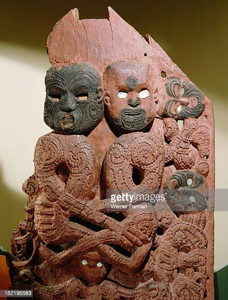 Carving from the front of a storehouse depicting the Maori gods Rangi the sky father and Papa the earth mother as a copulating couple In Maori myth...