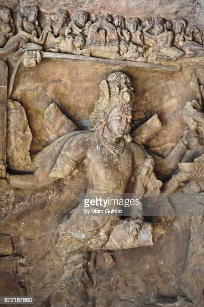 A carving of Shiva at the Elephanta Caves, Mumbai, Maharashtra, India
