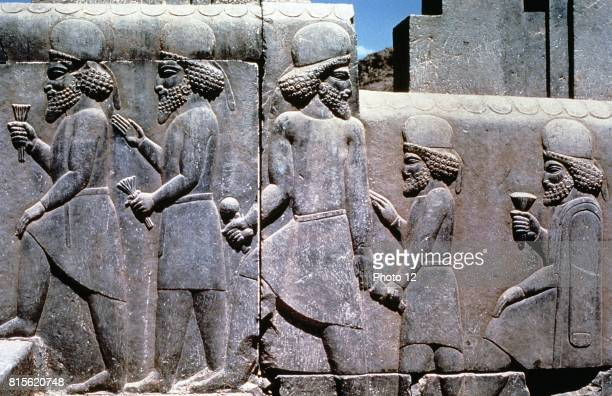 Carving on stairway to Royal Audience Hall of Darius I king of Persia Subjects bringing tribute and gifts Persepolis