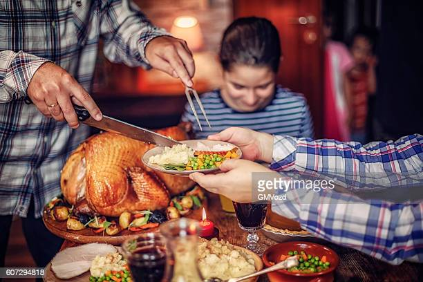 Carving Traditional Stuffed Turkey for Dinner