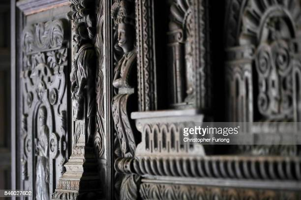 Carvings from the Jacobean period which adorn the walls and fireplaces of Hopwood Hall which US film actor Hopwood DePree XIV hopes to restore to its...