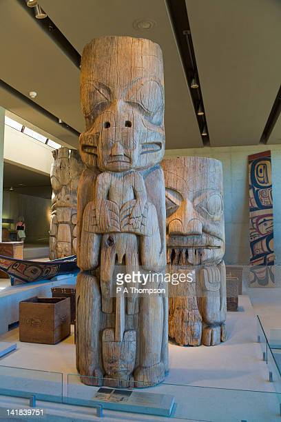 carvings, great hall, museum of anthropology, university of british columbia, vancouver, canada - ubc stock pictures, royalty-free photos & images
