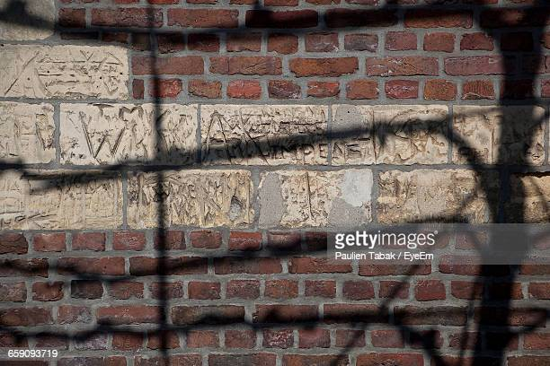 carvings on brick wall - paulien tabak stock pictures, royalty-free photos & images