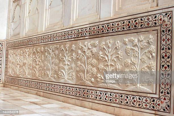 carvings on the marble wall, taj mahal - interior of taj mahal stock pictures, royalty-free photos & images