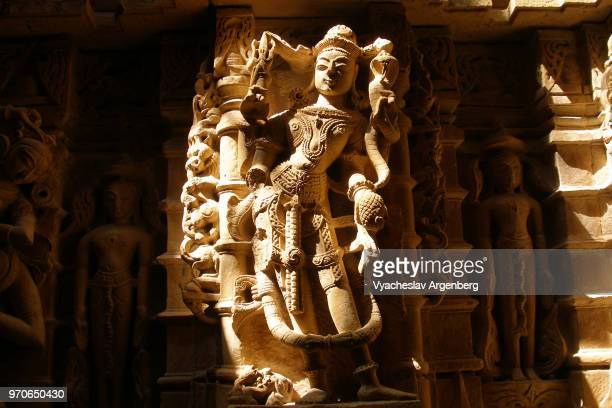 carvings on the walls of jain temple in jaisalmer fort, rajasthan, india - argenberg stock pictures, royalty-free photos & images