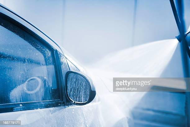 carwash with high pressure cleaner - mirror steam stock photos and pictures