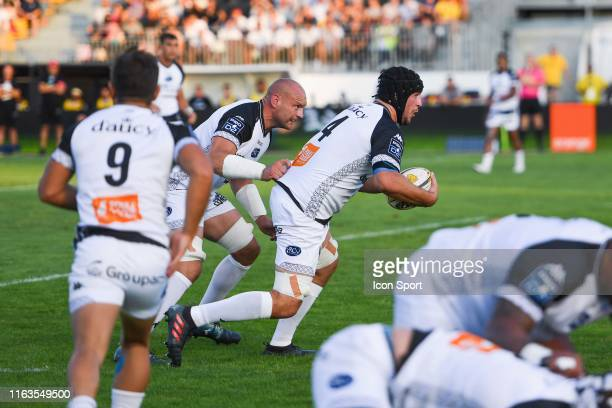 Carwyn Jones and Daniel Tuchy of Vannes during the Pro D2 match between Union sportive carcassonnaise XV and Rugby club Vanne on August 23, 2019 in...