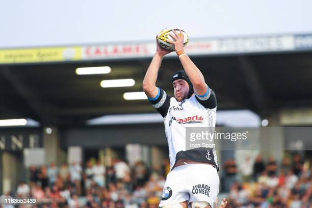 Carwyn Jones of Vannes during the Pro D2 match between Union sportive carcassonnaise XV and Rugby club Vanne on August 23, 2019 in Carcassonne,...