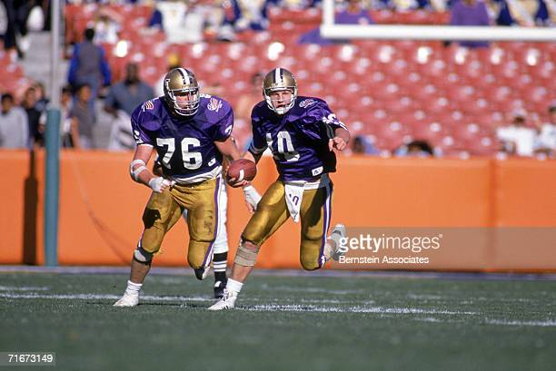 18c0198dd Cary Conklin of the Washington Huskies runs the ball against the Florida  Gators during the 1989