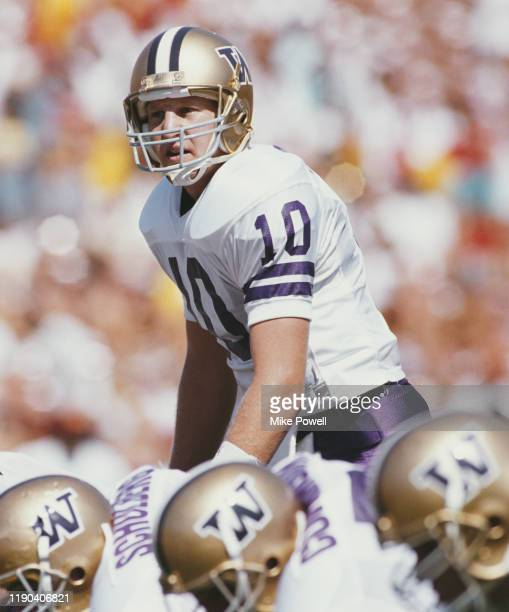 Cary Conklin, Quarterback for the University of Washington Huskies calls the play during the NCAA Pac-10 Conference college football game against the...