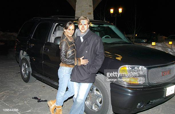 Cary Elwes and his wife with a GM luxury vehicle during 2004 Park City GM at Park City Cary Elwes in Park City Utah United States