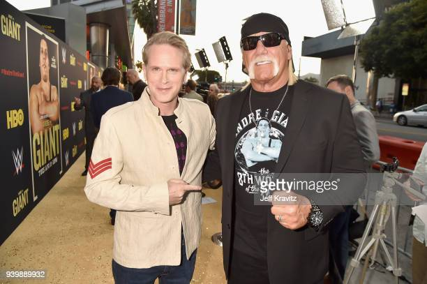 Cary Elwes and Hulk Hogan attend the Los Angeles Premiere of Andre The Giant from HBO Documentaries on March 29 2018 in Los Angeles California