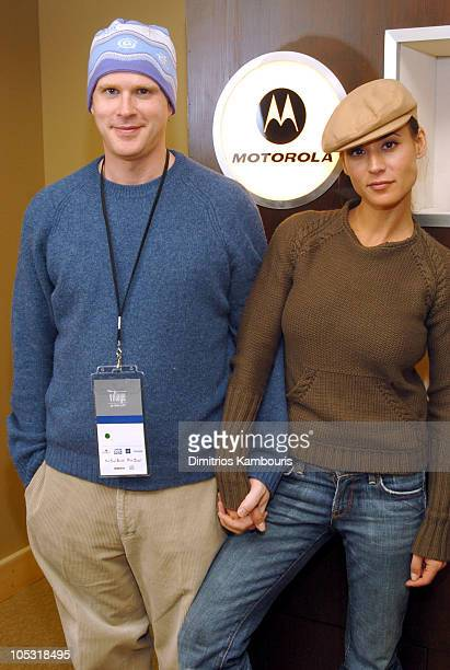 Cary Elwes and Lisa Marie at the Motorola Display during 2004 Park City Motorola Lodge at Motorolla House in Park City Utah United States