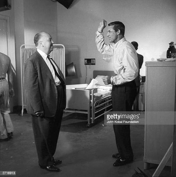 Cary Grant and Alfred Hitchcock on the set of their fourth collaboration the spy drama 'North by Northwest' Both men were born in England but made...