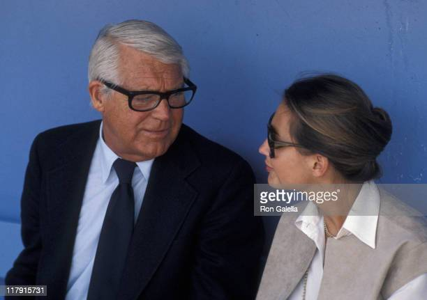 Cary Grant and Barbara Harris during Cary Grant Attends Opening Day at Dodger Stadium April 5 1979 at Dodger Stadium Dugout in Los Angeles California...