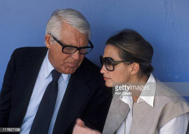 Cary Grant and Barbara Harris during Cary Grant Attends Opening Day at Dodger Stadium - April 5, 1979 at Dodger Stadium Dugout in Los Angeles,...