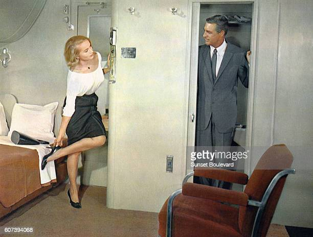 Cary Grant and Eva Marie Saint on the set of North by Northwest directed by Alfred Hitchcock