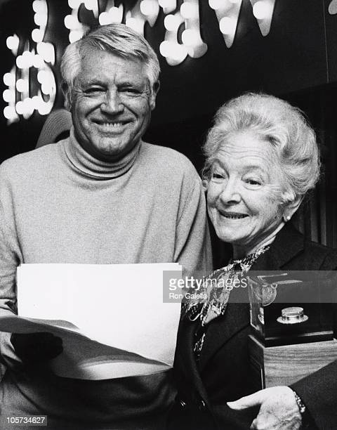 Cary Grant and Helen Hayes during 4th Annual Straw Hat Awards Luncheon at Tavern on the Green in New York City New York United States