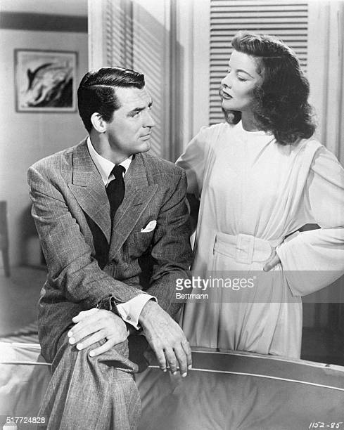 """Cary Grant and Katharine Hepburn in a scene from the movie: """"Philadelphia Story."""" 1940"""