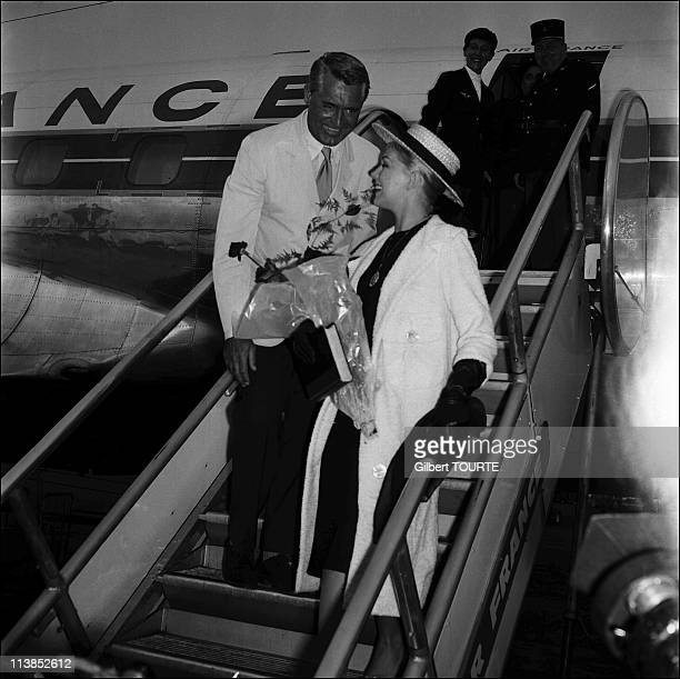 Cary Grant and Kim Novak landing to participate in Cannes Film Festival in 1959