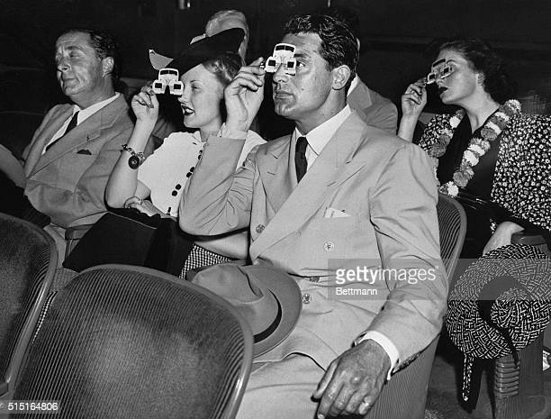 Cary Grant and Phyllis Brooks at the Polaroid movie in the Chrysler Building at the New York's World Fair