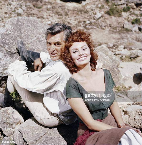 Cary Grant and Sophia Loren in 1957 during the filming of 'The Pride and the Passion' in Spain