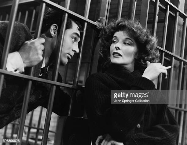Cary Grant as David Huxley and Katharine Hepburn as Susan Vance in the 1938 comedy Bringing Up Baby