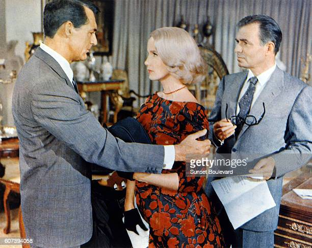 Cary Grant Eva Marie Saint and James Mason on the set of North by Northwest directed by Alfred Hitchcock