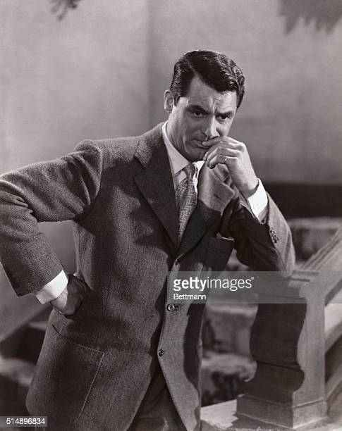 Cary Grant is captured here with a pensive look on his face