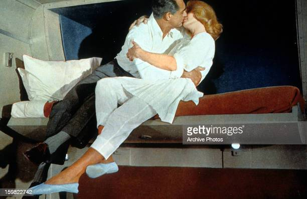 Cary Grant kisses Eva Marie Saint in a scene from the film 'North By Northwest' 1959