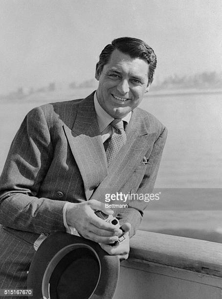 Cary Grant of the films shown upon his arrival in New York from Panama on board the grace liner Santa Elena April 2 Grant is en route to location at...