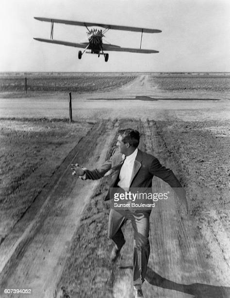 Cary Grant on the set of North by Northwest directed by Alfred Hitchcock