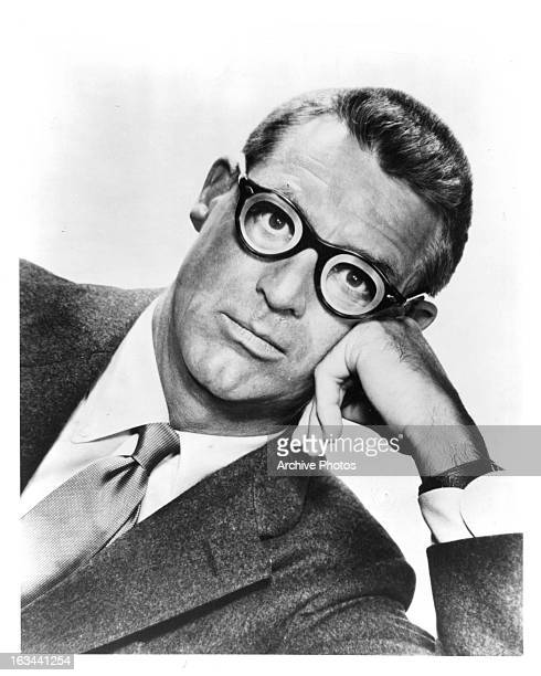 Cary Grant wearing thick glasses in publicity portrait for the film 'Monkey Business' 1952