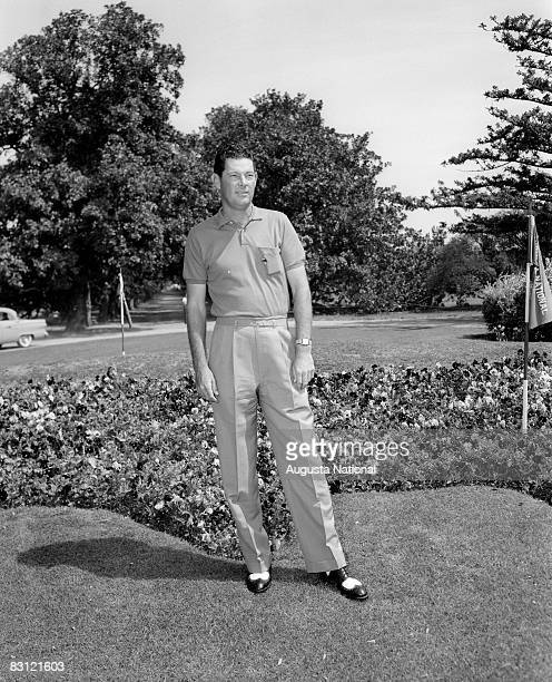 Cary Middlecoff poses by the flower bed in front of the clubhouse during the 1957 Masters Tournament at Augusta National Golf Club in APRIL 1957 in...
