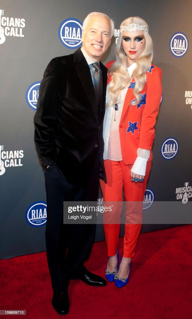 Cary Sherman and Ke$ha attend the RIAA Presidential Inaugural Charity Benefit at the 9:30 Club on January 21, 2013 in Washington, United States.