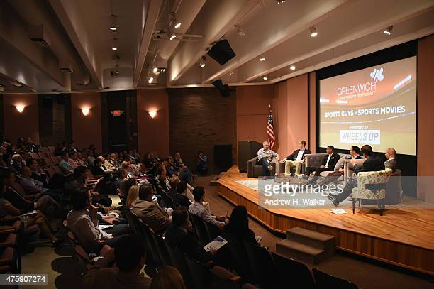 Cary Woods Patrick Kerney Allan Houston Mark Teixeira Ryen Russillo and Mike Greenberg speak on stage at Greenwich Film Festival 2015 Sports Guys On...